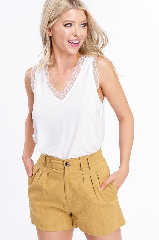 Buy Two Tone Jersey V-Neck Sleeveless Top Ivory online at Southern Fashion Boutique Bliss