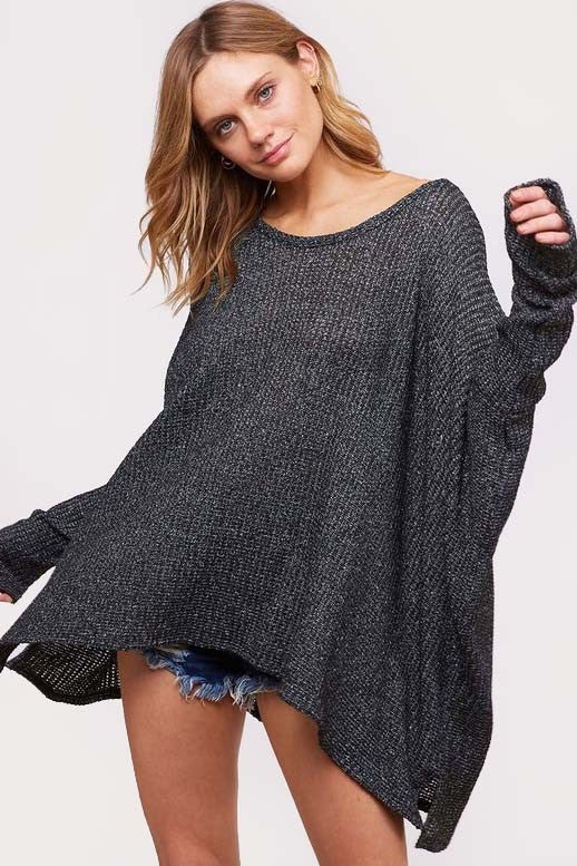 Buy Loose Low Gage Sweater Top Black online at Southern Fashion Boutique Bliss