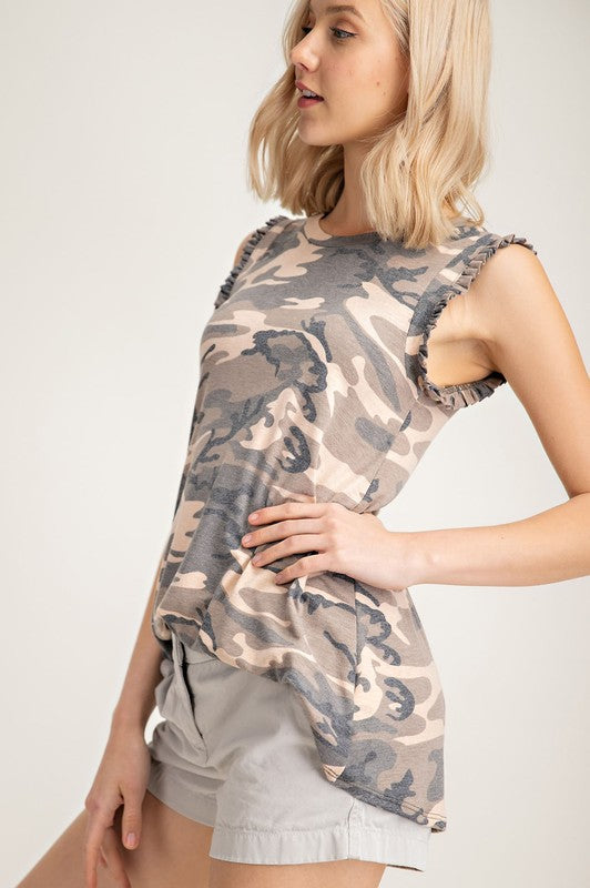Buy Sleeveless Camo Ruffled Tank Top online at Southern Fashion Boutique Bliss