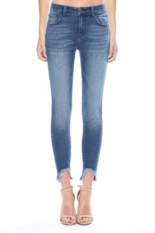 Buy Mid Rise Frayed Hem Crop Skinny Jeans Dark Denim online at Southern Fashion Boutique Bliss