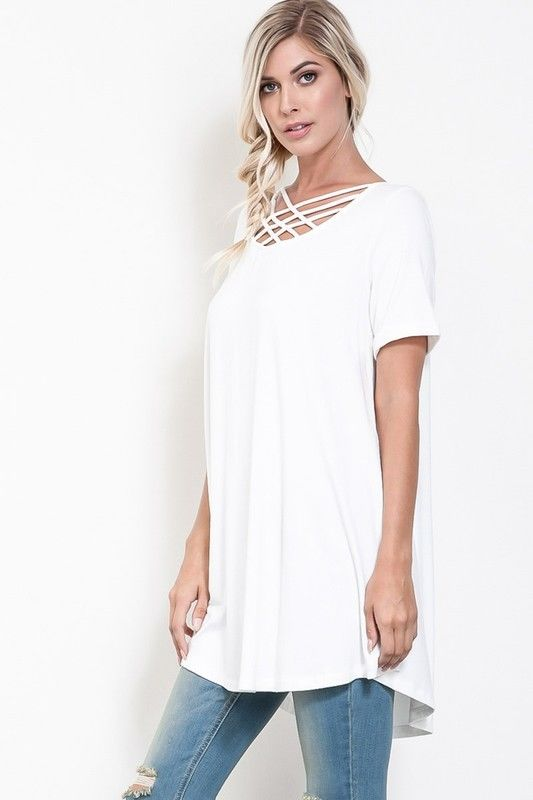 Buy Criss Cross Front Short Sleeve Tunic/Dress Ivory online at Southern Fashion Boutique Bliss