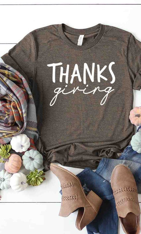 Buy THANKSgiving Graphic Tee Heather Brown online at Southern Fashion Boutique Bliss