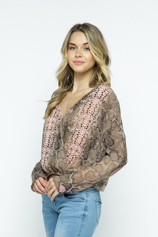 Buy Snake Print Chiffon Surplice Blouse Pink online at Southern Fashion Boutique Bliss