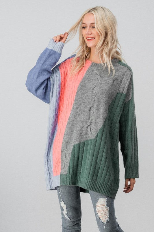Oversize Color Block Mix Media Sweater Multi - Athens Georgia Women's Fashion Boutique