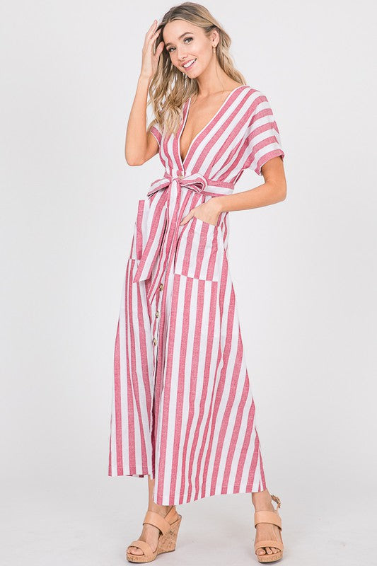 Buy Short Sleeve Stripe Print Maxi Dress Red online at Southern Fashion Boutique Bliss