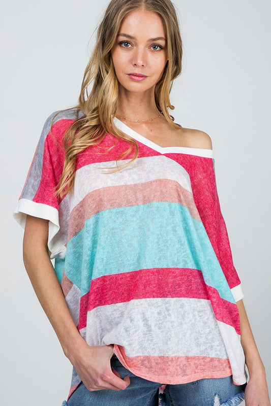 Buy Color Block Striped V Neck Knit Top Coral Multi online at Southern Fashion Boutique Bliss