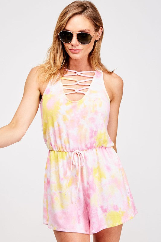 Buy Tie Dye Sleeveless Romper Pink/Lemon online at Southern Fashion Boutique Bliss