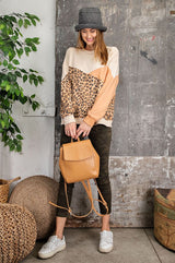 Buy Terry Knit Leopard Print Pullover Top Camel online at Southern Fashion Boutique Bliss