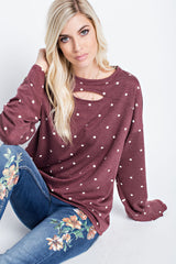 Buy Polka Dot French Terry Top Burgundy online at Southern Fashion Boutique Bliss