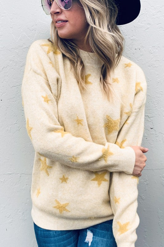 Buy Cozy Style Stars Sweater Mustard online at Southern Fashion Boutique Bliss