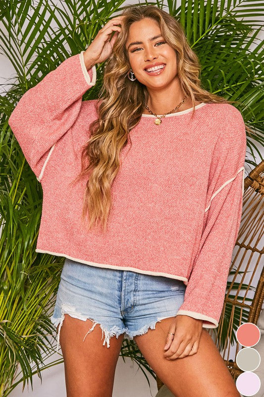 Buy Two-toned Long Sleeves Sweater Pink online at Southern Fashion Boutique Bliss