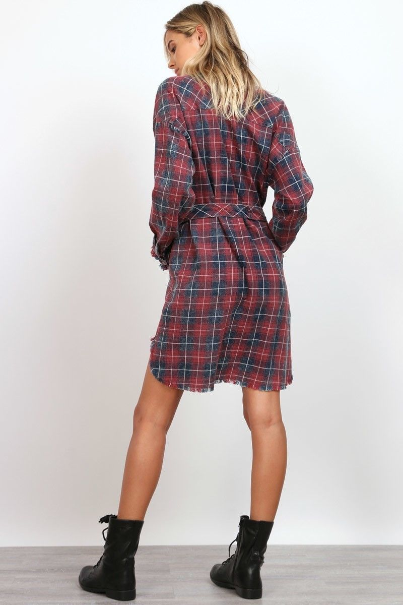 Buy Button Up Garment Washed Plaid Dress Burgundy online at Southern Fashion Boutique Bliss