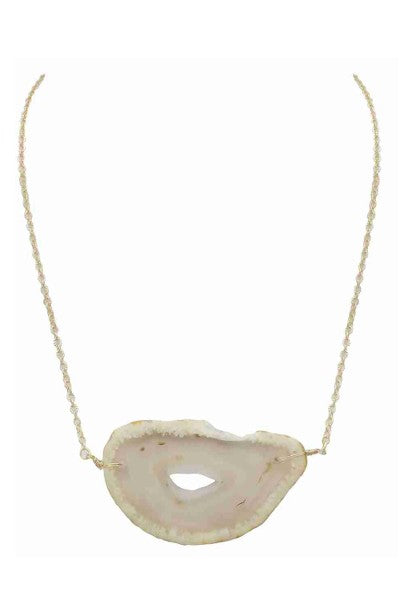Buy Organic Shape Agate Stone Short Necklace White online at Southern Fashion Boutique Bliss
