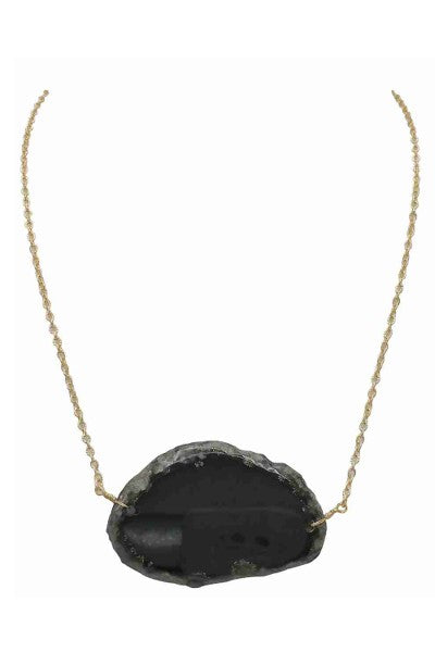 Buy Organic Shape Agate Stone Short Necklace Black online at Southern Fashion Boutique Bliss