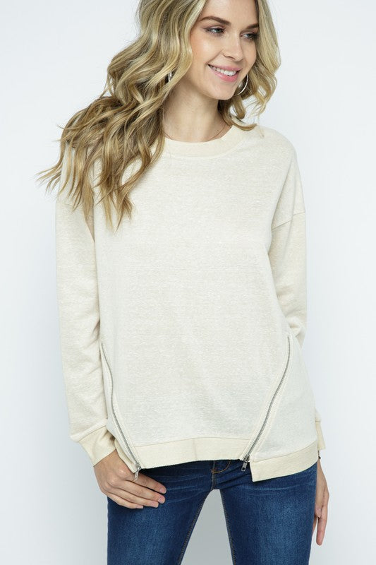 Long Sleeve Top with Zipper Oatmeal