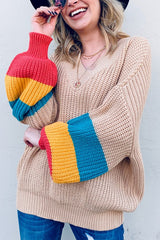Buy Color Block Balloon Sleeve Sweater Taupe online at Southern Fashion Boutique Bliss