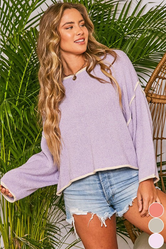 Two-toned Long Sleeves Sweater Lavender
