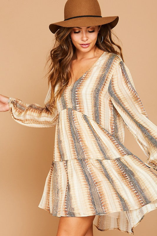 Buy Snake Printed Flowy Mini Dress Brown online at Southern Fashion Boutique Bliss