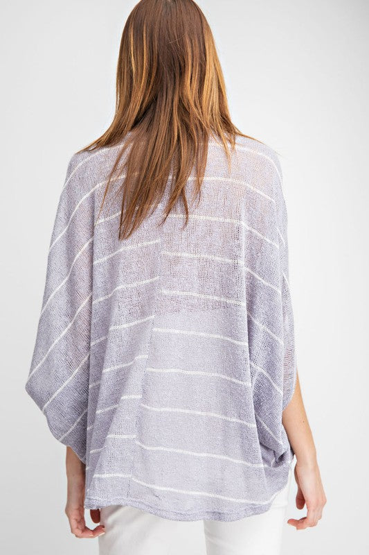 Buy Striped Hacci Knit Dolman Top Lilac Grey online at Southern Fashion Boutique Bliss