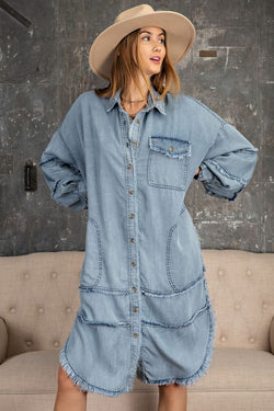 Denim Oversize Shirt Dress Washed Denim