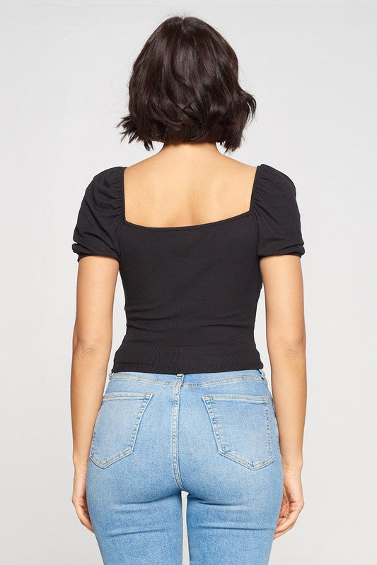 Buy Ribbed Double Tie Crop Top Black online at Southern Fashion Boutique Bliss