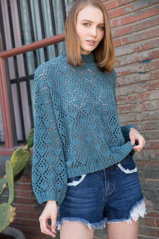 Mock Neck Crochet Sweater Dusty Emerald