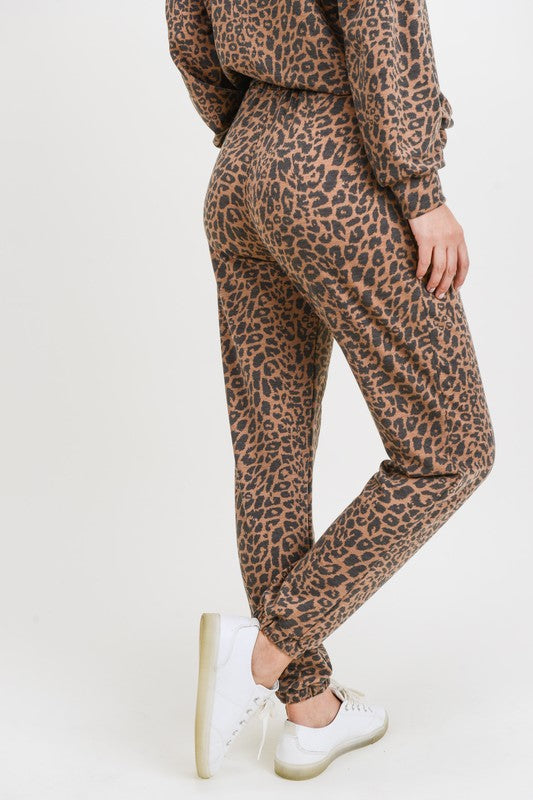 Leopard Joggers with Drawstring Mocha - Athens Georgia Women's Fashion Boutique