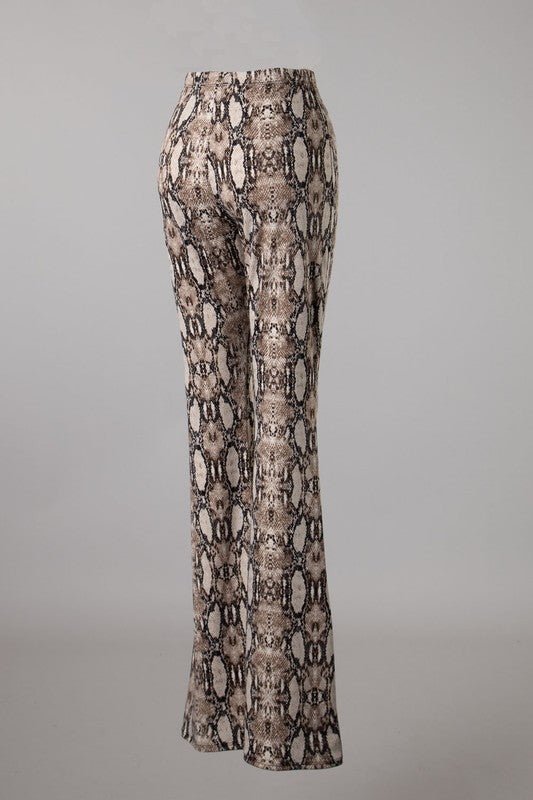 Snake Print Flare Pant Khaki - Athens Georgia Women's Fashion Boutique