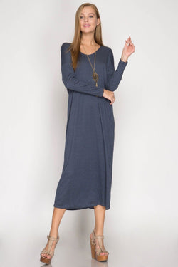 Buy Maxi Dress w/Open Back Twist Detail Navy online at Southern Fashion Boutique Bliss