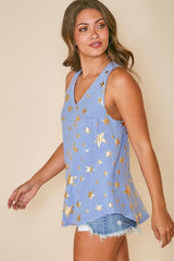 Buy Star Print V Neckline Sleeveless Knit Top Blue/Gold online at Southern Fashion Boutique Bliss