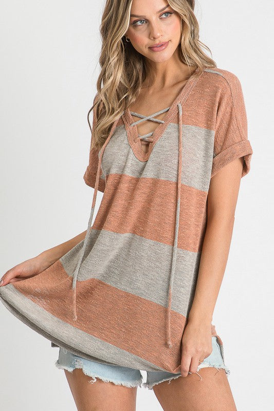 Striped with Criss Cross V Neck Top Orange