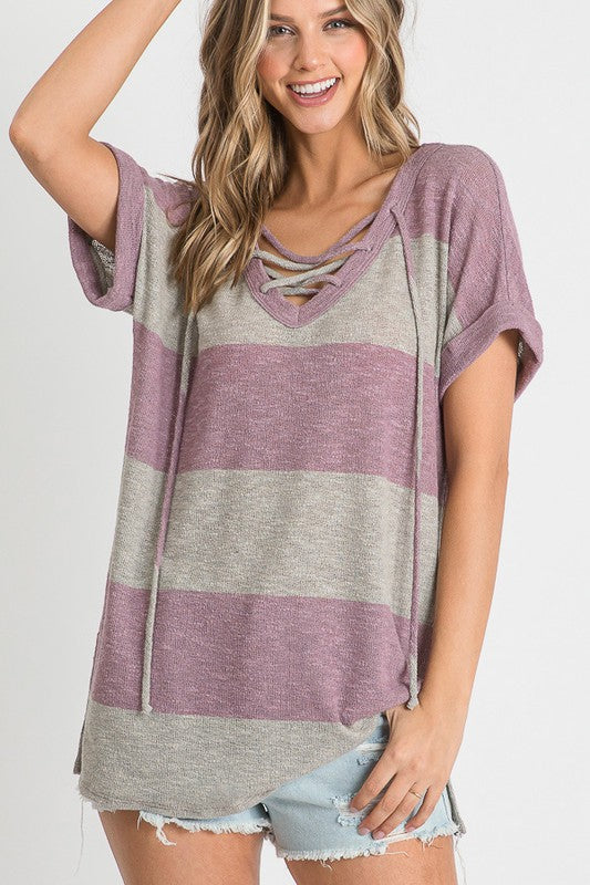 Striped with Criss Cross V Neck Top Purple