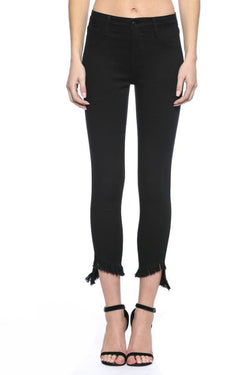 Buy Mid Rise Crop Skinny Jeans Fray Hem Black online at Southern Fashion Boutique Bliss