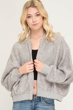 Buy Brushed Bomber Jacket with Pockets Grey online at Southern Fashion Boutique Bliss