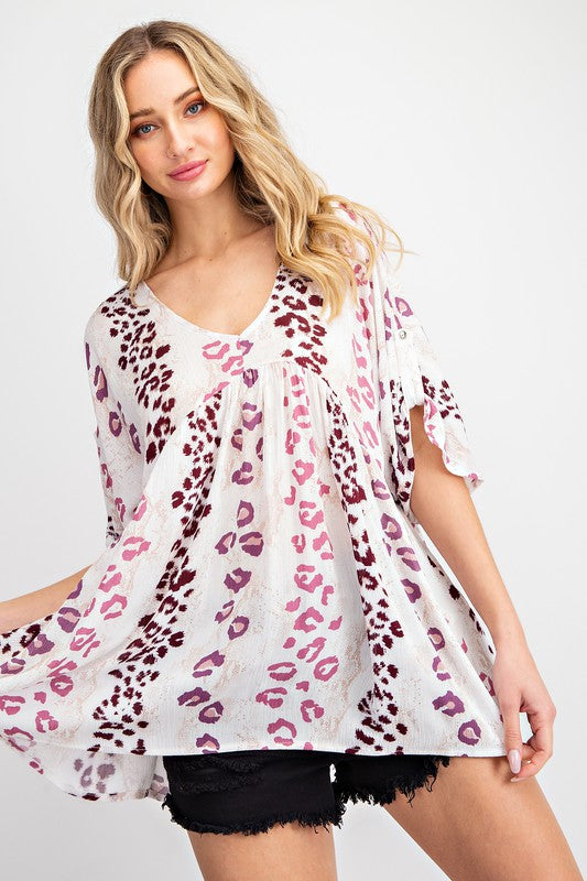 Leopard Print Flare Babydoll Top Off White/Mauve
