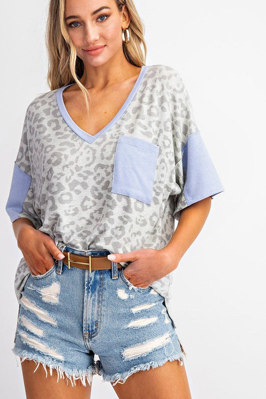 Pocket Detail V-Neck Leopard Print Top Oatmeal/Blue
