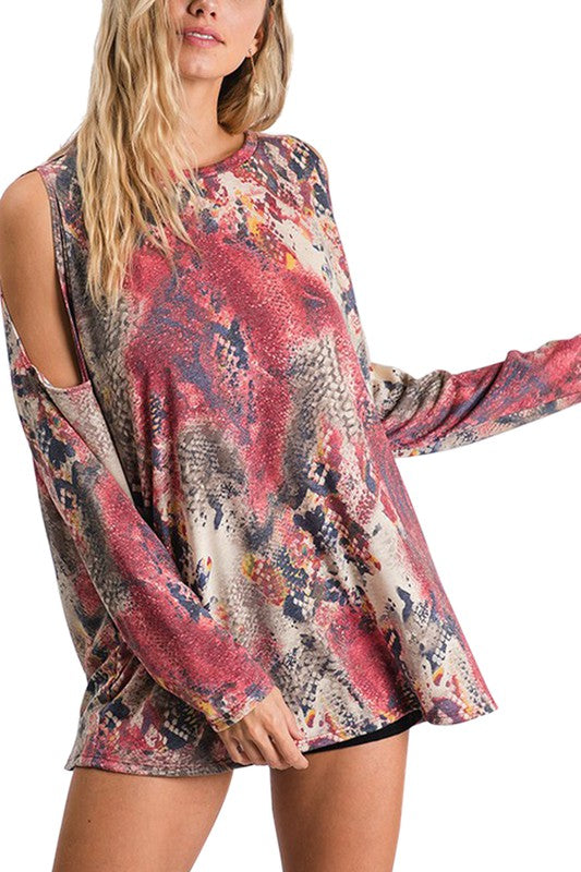 Buy Animal Print Cold Shoulder Top Wine online at Southern Fashion Boutique Bliss