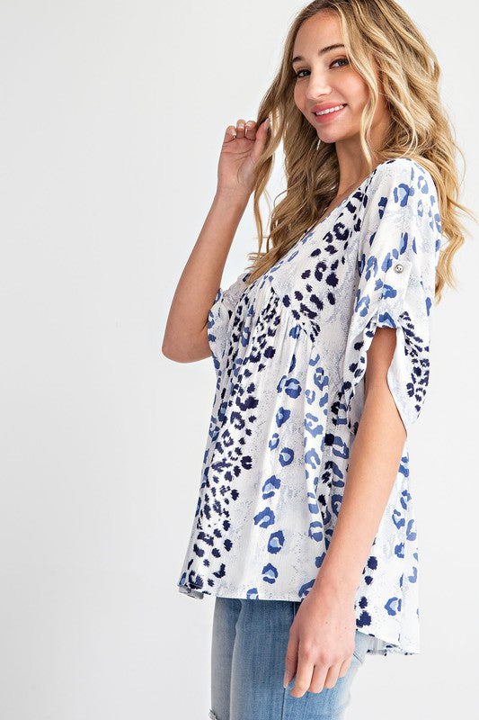 Leopard Print Flare Babydoll Top Off White/Blue