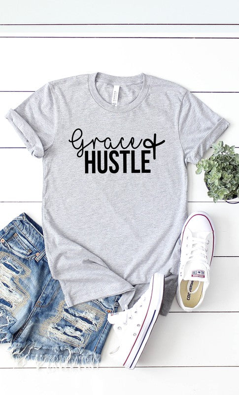 Grace and Hustle Graphic Tee Grey