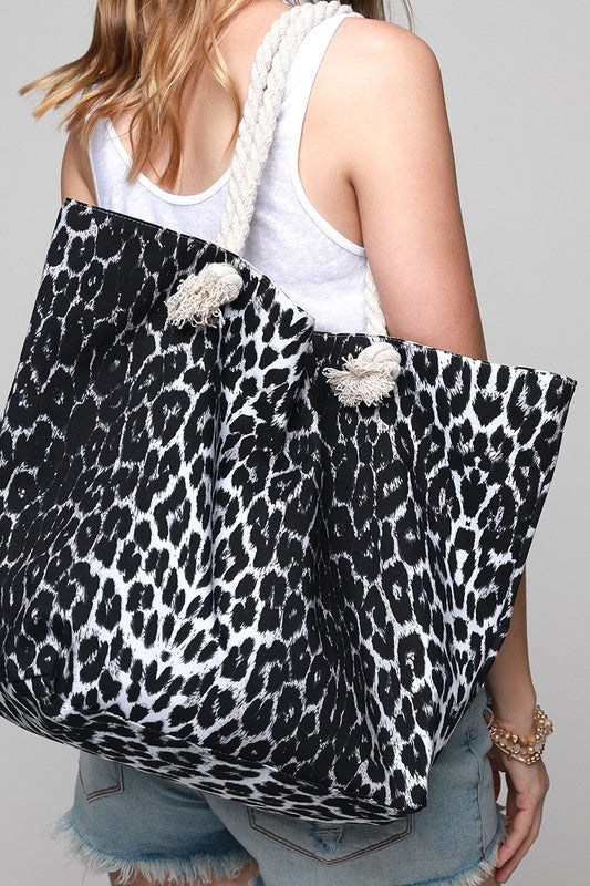 Leopard Print Beach Tote Bag Black