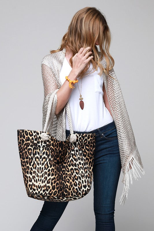 Leopard Print Beach Tote Bag Brown
