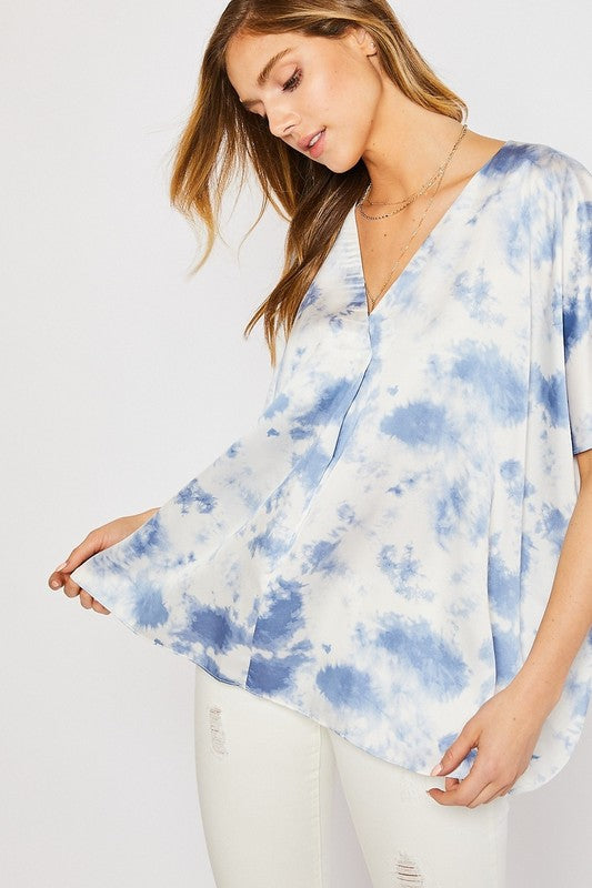 Buy Satin Tie Dye Pleat Front Kimono Blouse Blue online at Southern Fashion Boutique Bliss