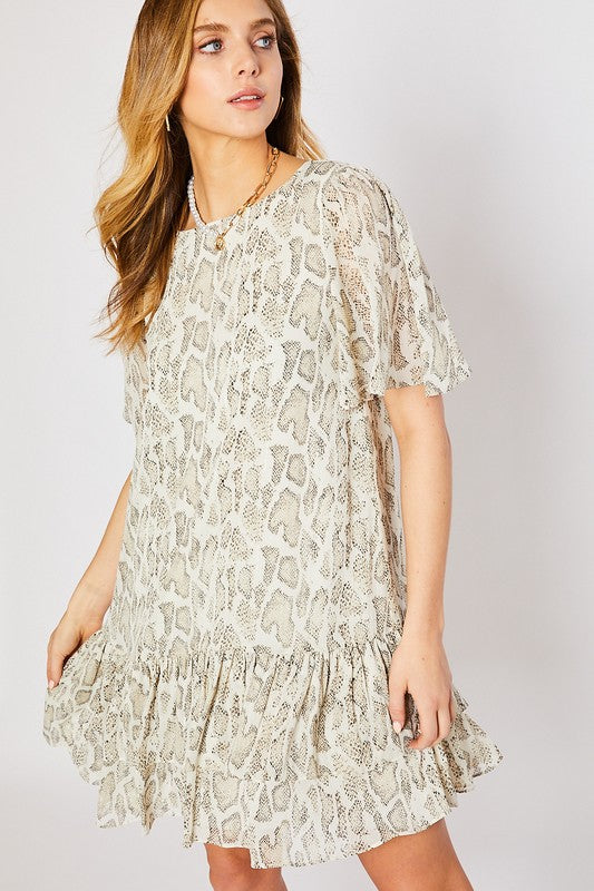 Buy Snake Print Ruffle Detail Dress Ivory/Taupe online at Southern Fashion Boutique Bliss