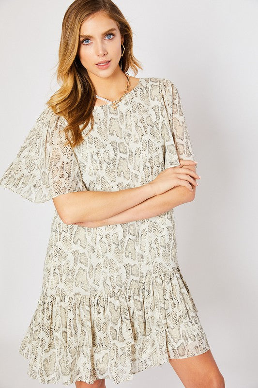 Snake Print Ruffle Detail Dress Ivory/Taupe