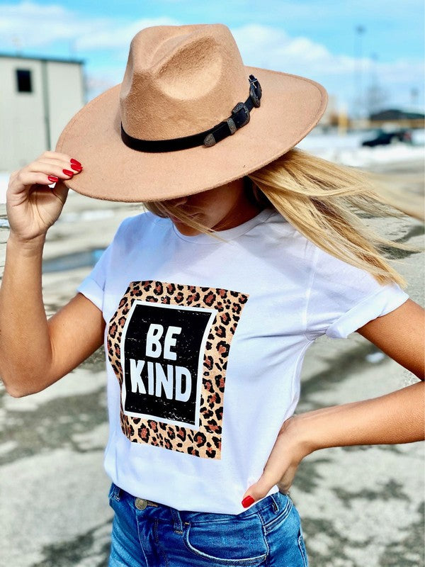 Be Kind Leopard Graphic Tee White