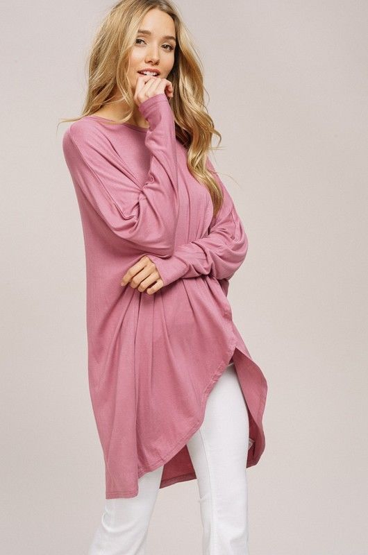 Buy Layered Dolman Sleeve Hi-Lo Tunic Top Rose online at Southern Fashion Boutique Bliss
