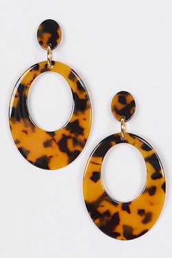 Buy Acrylic Oval Drop Earrings Brown online at Southern Fashion Boutique Bliss