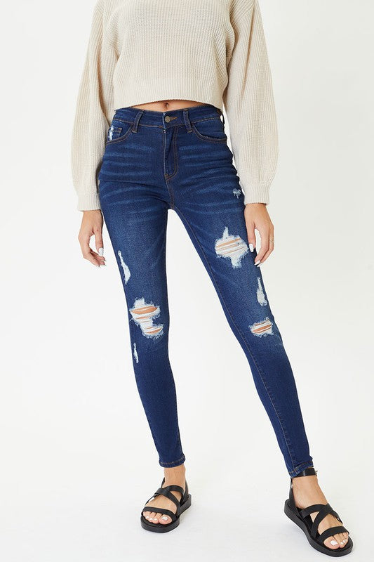 Buy Distressed Front Washed Jeans Dark Denim online at Southern Fashion Boutique Bliss