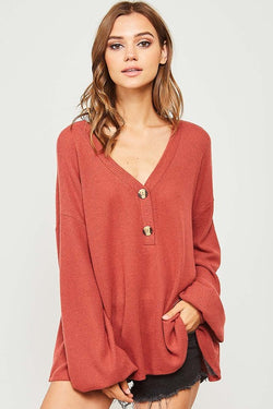 Solid V Neckline Knit Top Rust - Athens Georgia Women's Fashion Boutique
