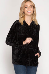 Buy Crushed Velvet Hooded Top w/Kangaroo Pockets Black online at Southern Fashion Boutique Bliss